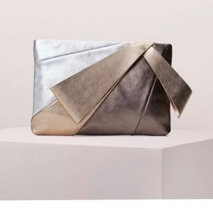 KATE SPADE Stevie Metallic Clutch BronzeSilver NWT